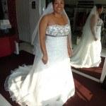 Bruid Wendy trouwjurk Creations of Leijten, bruidsjurk met grijs