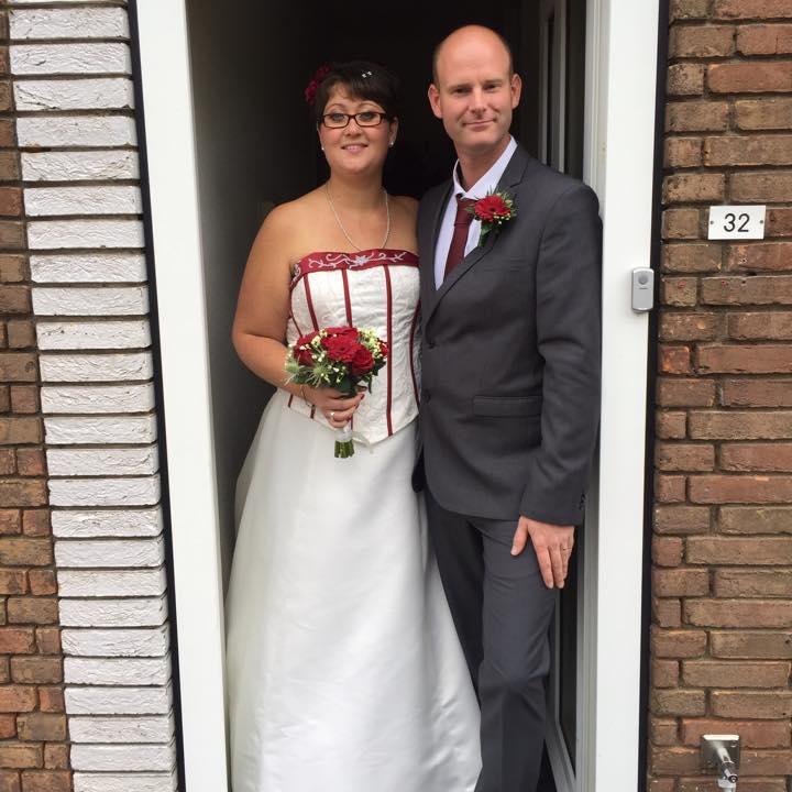 gekleurde bruidsjurk