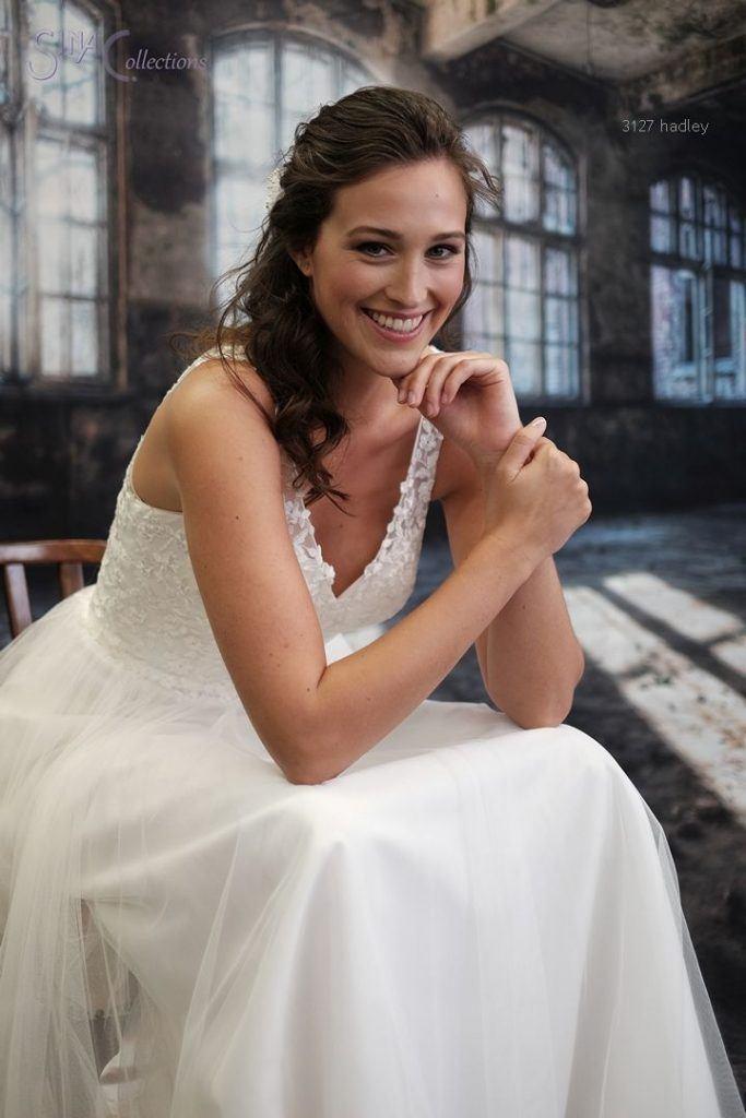 kanten trouwjurk met tule Boho bruid, bruidsmode mariska