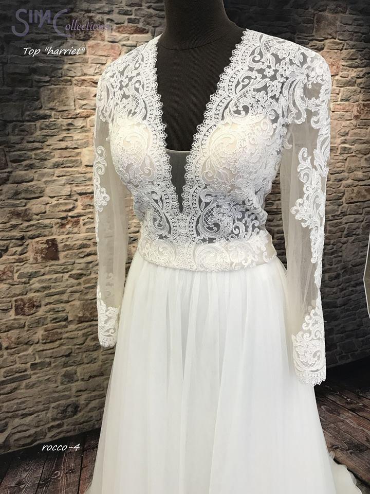Bohemian trouwjurk kanten mouwen