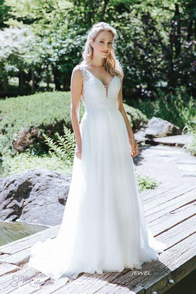 kanten trouwjurk met tule boho bruidsjurk