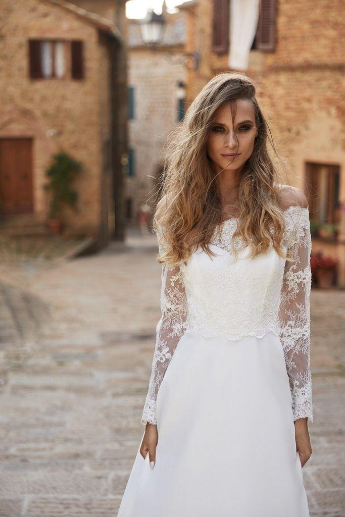 Crop top bruidsjurk Boho trouwjurk