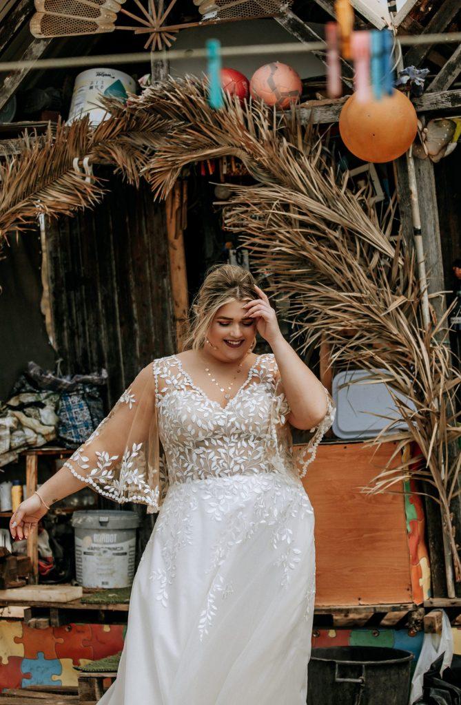 bohemian grote maat trouwjurk